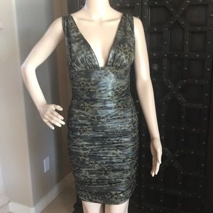 Bebe Reptile Shirred Dress